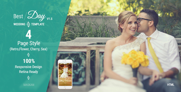 Best Day - Responsive One-Page Wedding Template by maskan