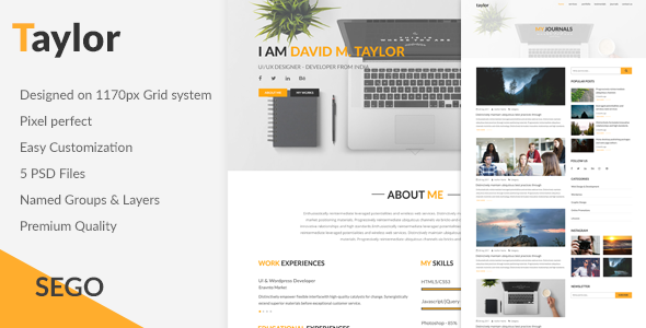 Taylor-Personal Portfolio & Blog template