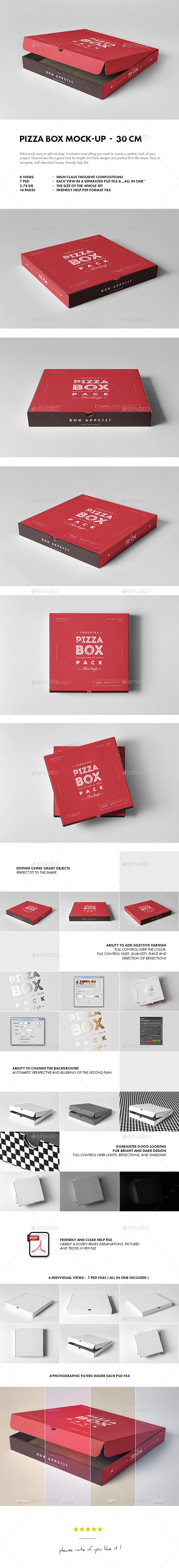 30 Pizza Box Mock-up - Food and Drink Packaging