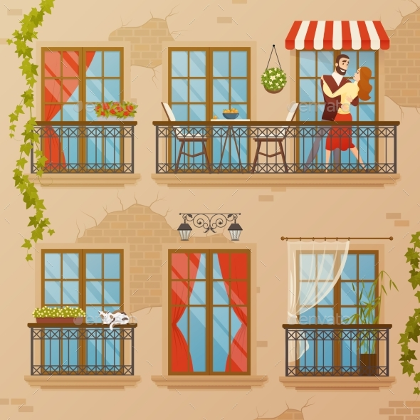 Classic Window Balconies Composition - Backgrounds Decorative
