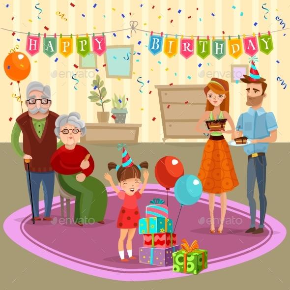 Family Birthday Home Celebration Cartoon - Birthdays Seasons/Holidays