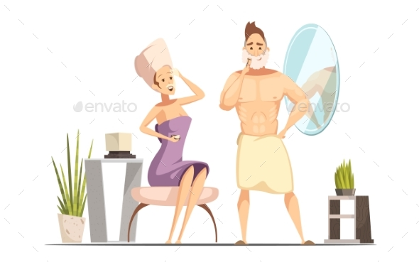 Hair Removal Depilation Family Cartoon - People Characters
