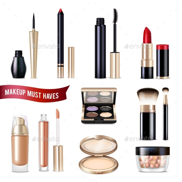 Makeup Items Realistic Set - Man-made Objects Objects