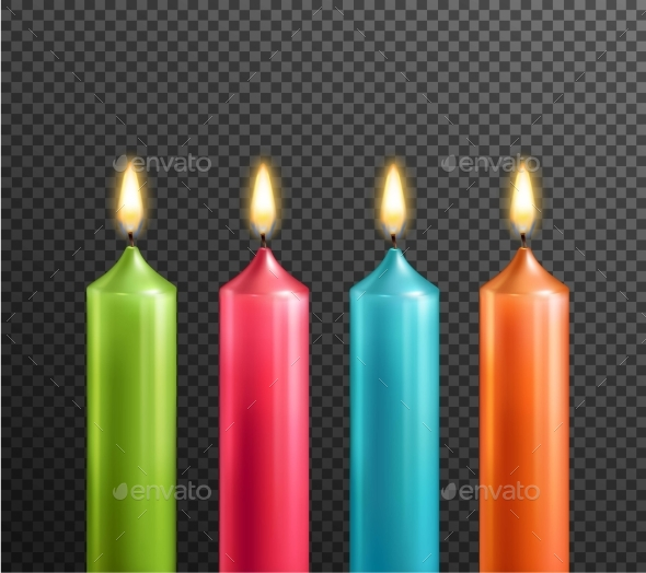 Candles on Transparent Background Realistic Set - Man-made Objects Objects