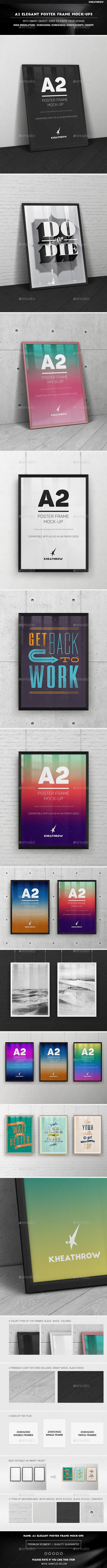 A2 Elegant Poster Frame Mock-Ups - Product Mock-Ups Graphics