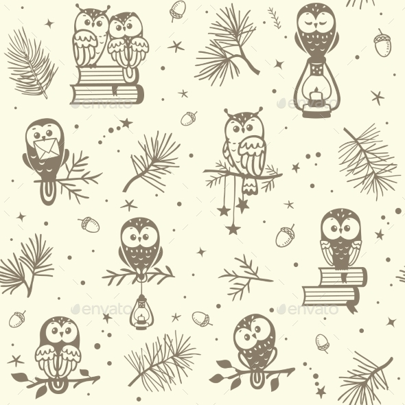 Owl Seamless - Backgrounds Decorative