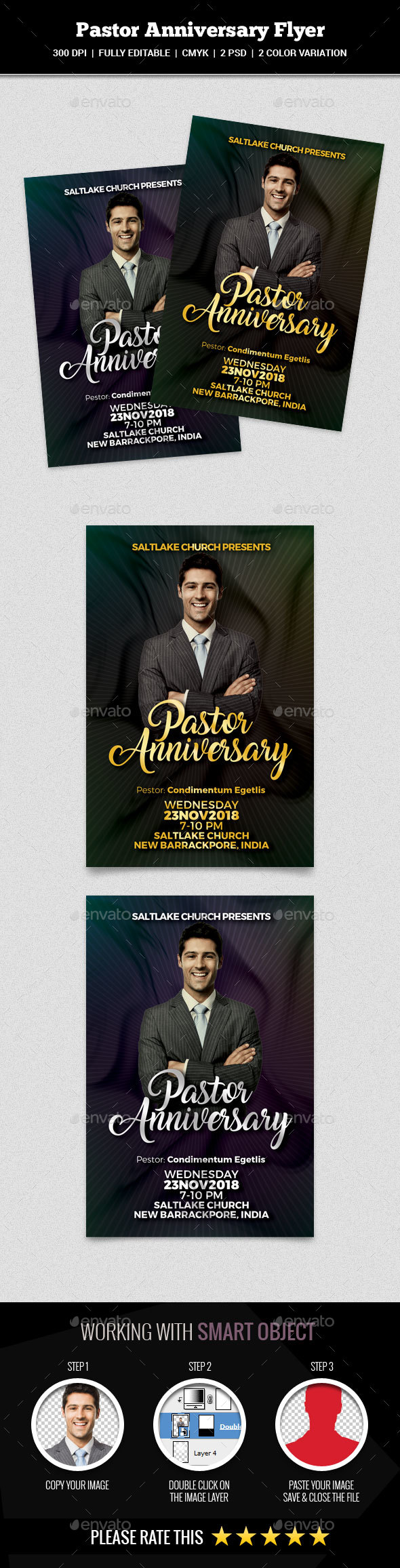 Pastor Anniversary Flyer - Church Flyers