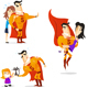 Cartoon Superhero Action Set 4 - GraphicRiver Item for Sale