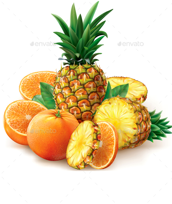 Pineapple and Orange Fruits - Food Objects