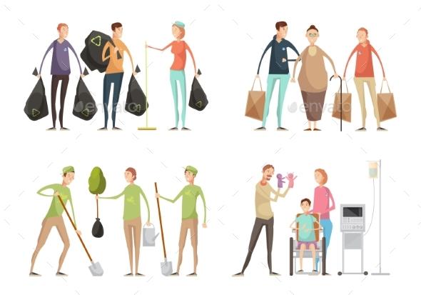 Volunteering Situations Set - People Characters