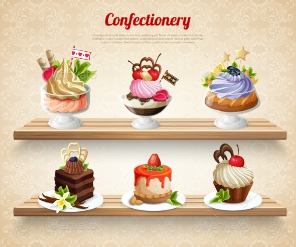 Confectionery Colorful Illustration - Food Objects