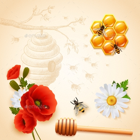 Colored Honey Composition - Flowers & Plants Nature