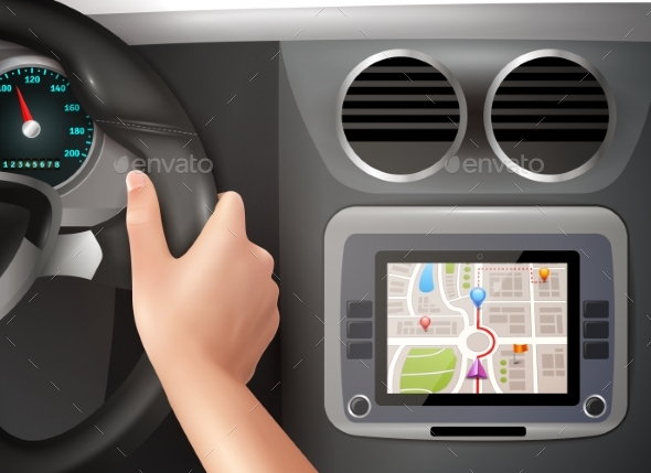 GPS Navigation In Car - Travel Conceptual