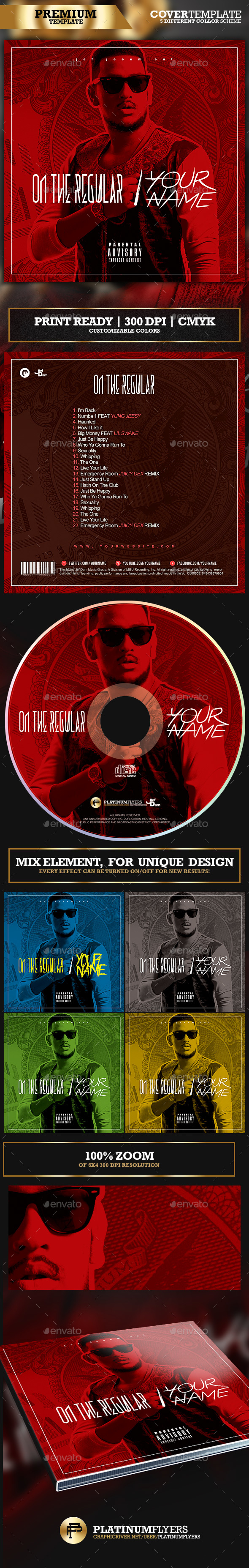 On The Regular Trap Mixtape Album CD Cover Template - Print Templates