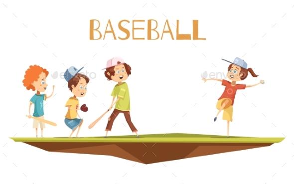 Cartoon Kids Playing Baseball Vector Illustration - Sports/Activity Conceptual
