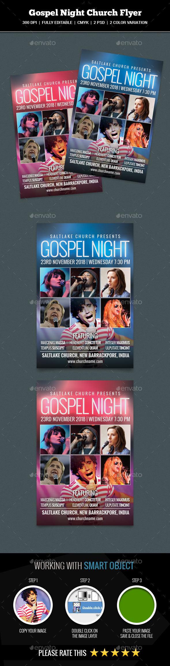 Gospel Night Church Flyer - Church Flyers