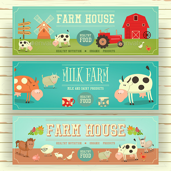 Farm House Web Banner Hero Image - Animals Characters