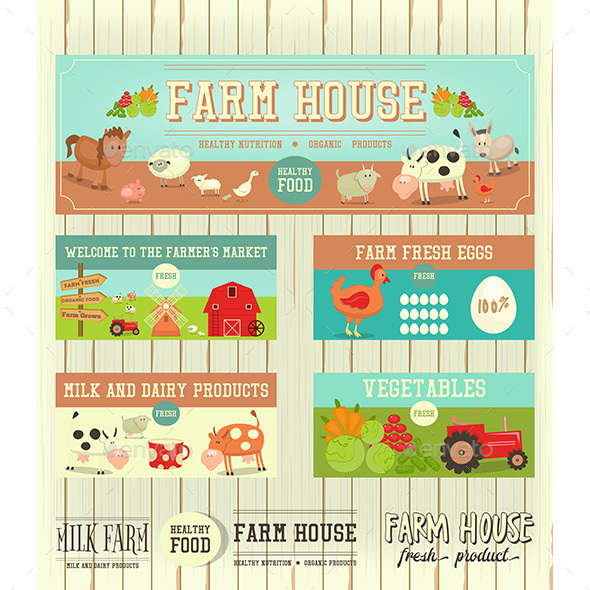 Farm House Posters - Animals Characters