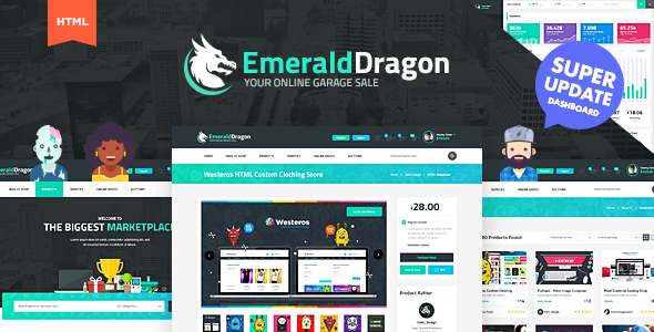 Emerald Dragon Online Marketplace HTML Multipurpose Template V2.0 - Retail Site Templates