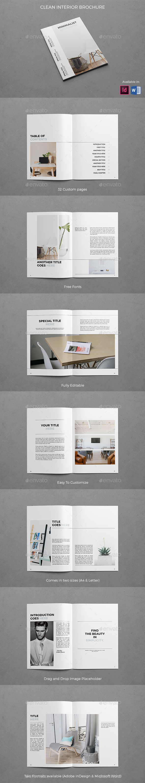 Clean Interior Brochure - Brochures Print Templates
