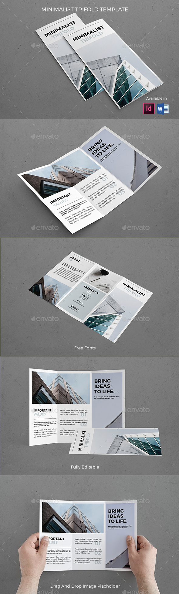 Minimalist Trifold Template - Brochures Print Templates