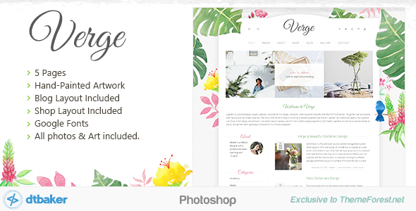 Verge Watercolor Shop Blog Photoshop - Creative PSD Templates