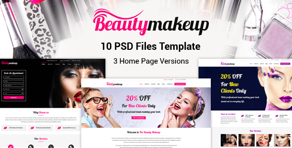 Beauty Makeup – Multipurpose Salon PSD Template