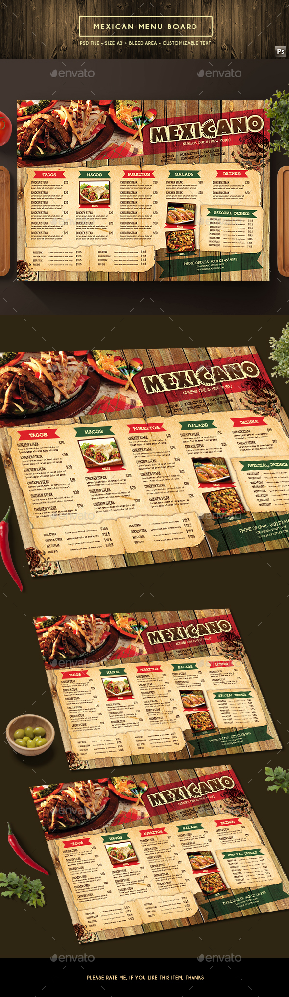 Mexican Menu Board - Food Menus Print Templates