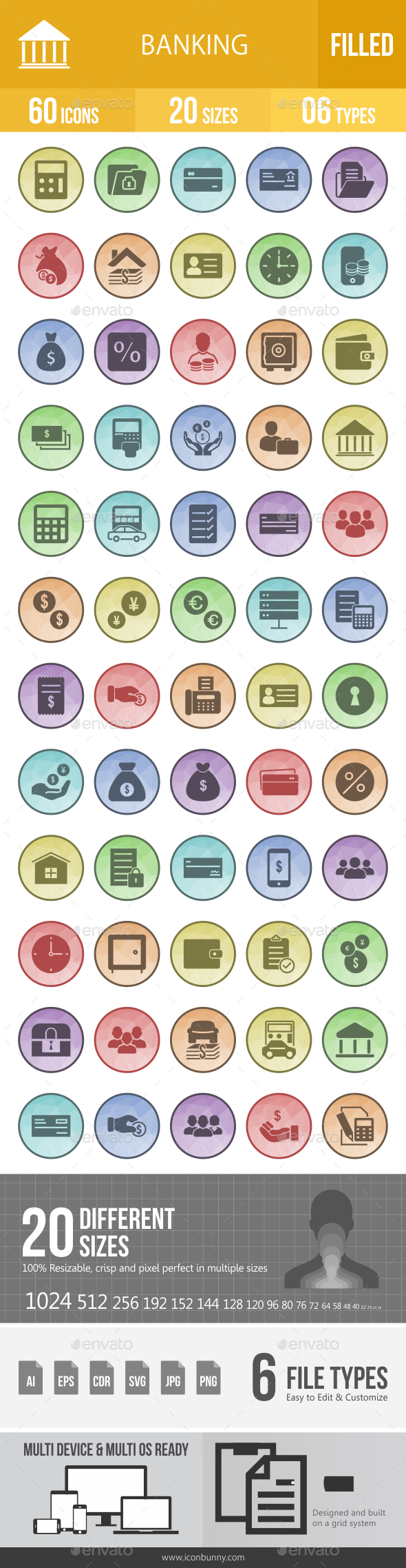 Banking Filled Low Poly B/G Icons - Icons