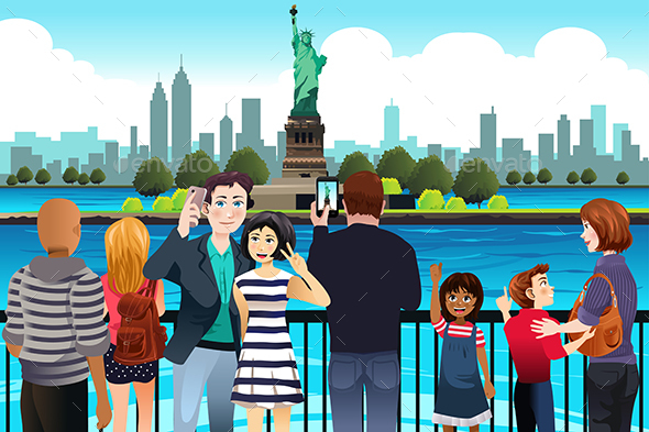Tourists Taking Picture Near Statue of Liberty - People Characters