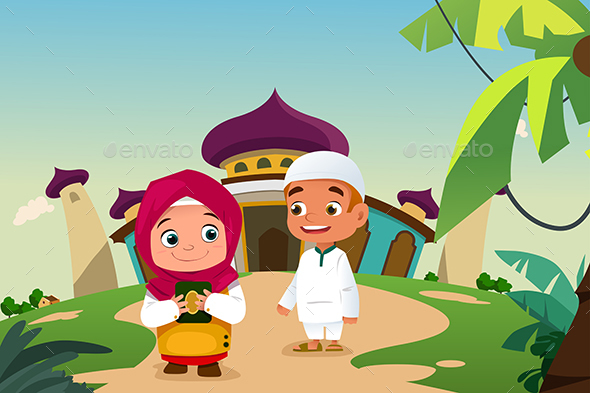 Muslim Kids Leaving a Mosque - People Characters