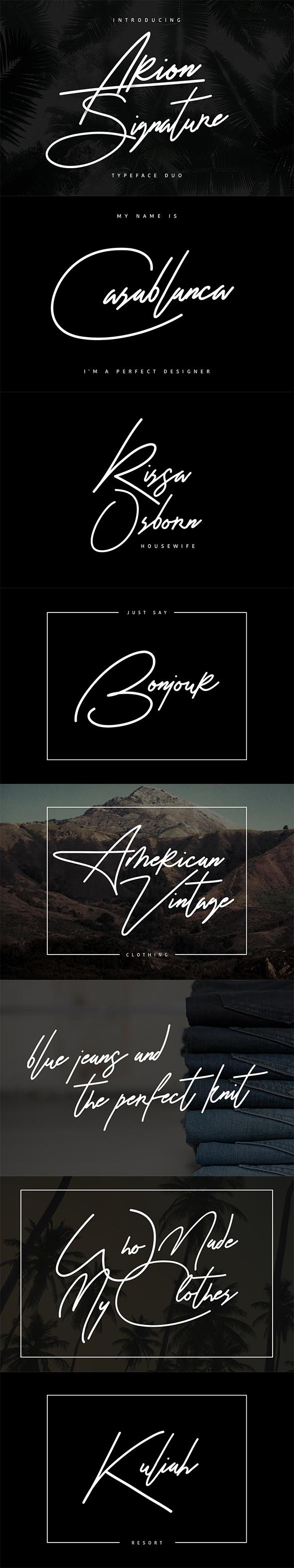 Arion Signature Typeface - Calligraphy Script