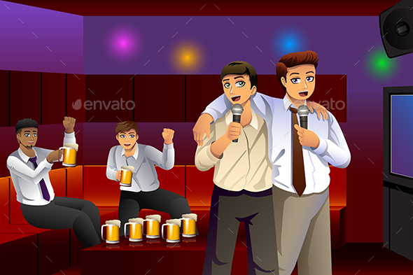 Businessmen Singing Karaoke After Work - People Characters