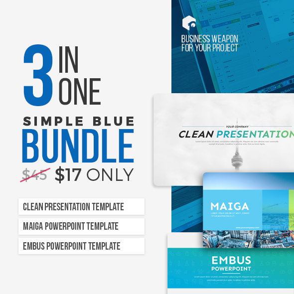 3 in 1 - Simple Blue Bundle - Business PowerPoint Templates