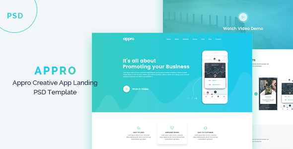 APPRO -  App Landing PSD Template - Marketing Corporate