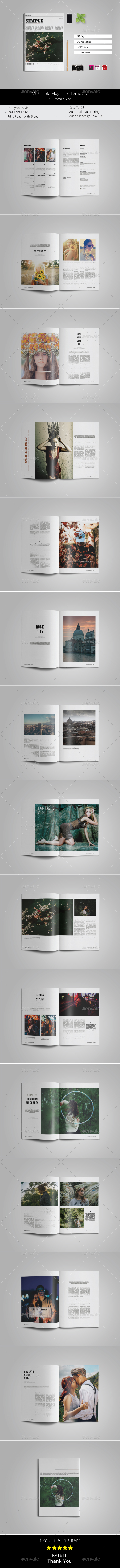 A5 Simple Magazine Template - Magazines Print Templates