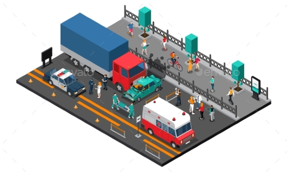 Road Crash Isometric Illustration - Miscellaneous Conceptual