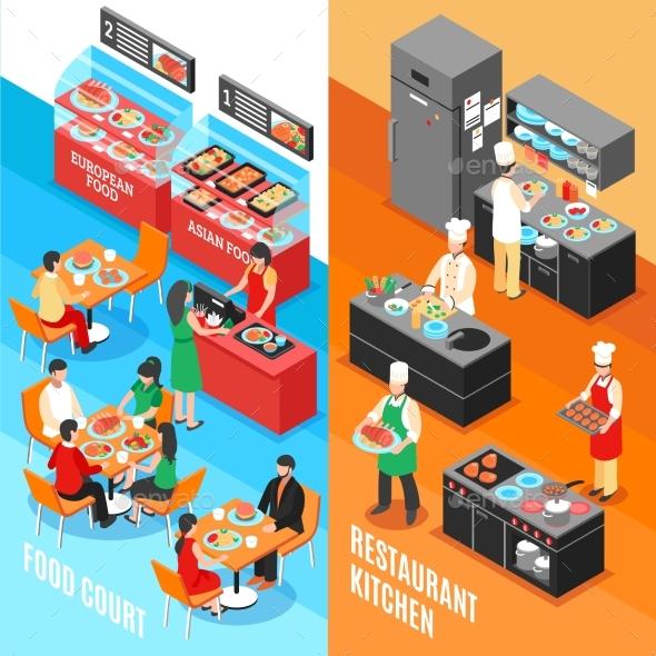 Fastfood Kitchen Banners Set - Conceptual Vectors