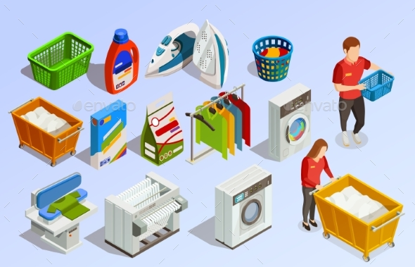 Laundry Isometric Elements Set - Man-made Objects Objects