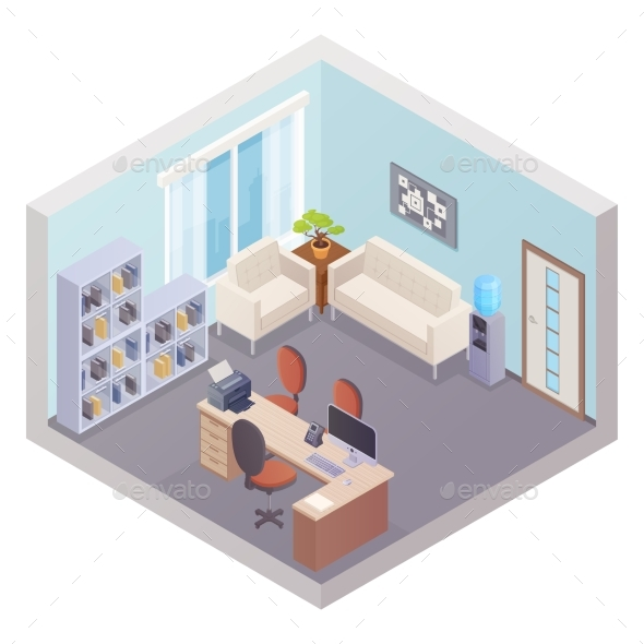 Isometric Office Interior with Boss Workplace - Backgrounds Decorative