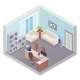 Isometric Office Interior with Boss Workplace