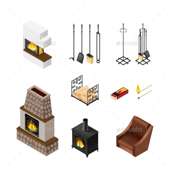 Fireplace Isometric Elements Set - Decorative Vectors