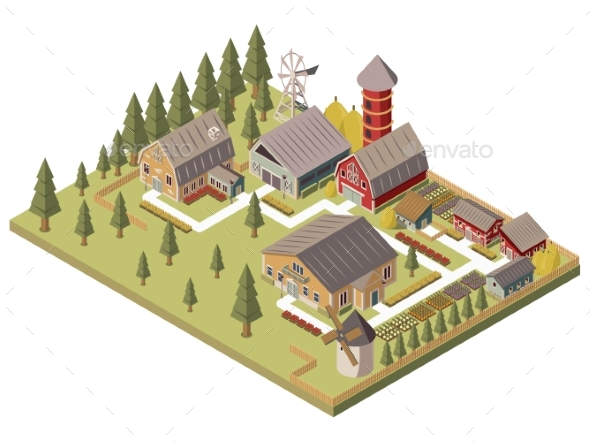 Farm Buildings Isometric Illustration - Buildings Objects