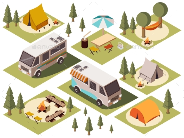 Camp Elements Isometric Set - Sports/Activity Conceptual