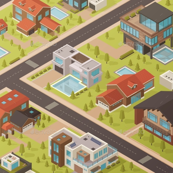 Isometric House Background - Backgrounds Decorative