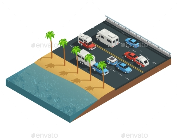 Recreational Vehicles on Road Isometric - Travel Conceptual