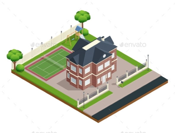 Suburb House Composition - Buildings Objects