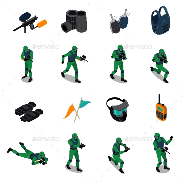 Paintball Isometric Icons Set - Sports/Activity Conceptual