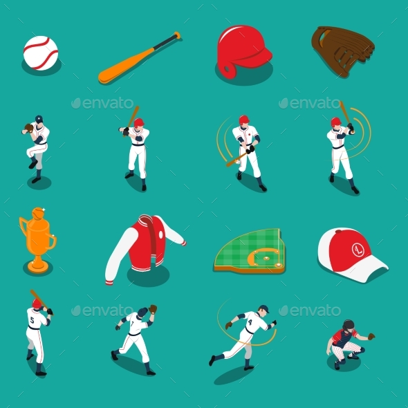Baseball Isometric Icons Set - Sports/Activity Conceptual