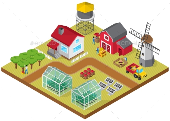 Farmyard Isometric Game Model Icon - Industries Business